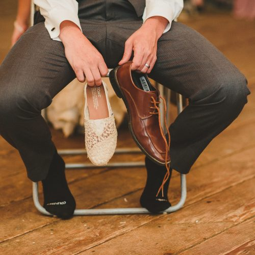 The shoe game. Bride and groom shoes. Sea Tree Weddings.