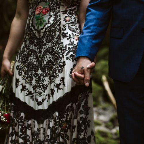 bride and groom holding hands. Cedar Haven. Sea Tree Weddings.