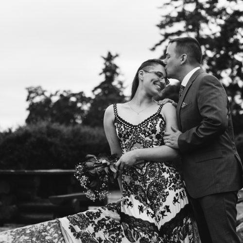 Black and White Photo. Wedding Couple. Happiness.