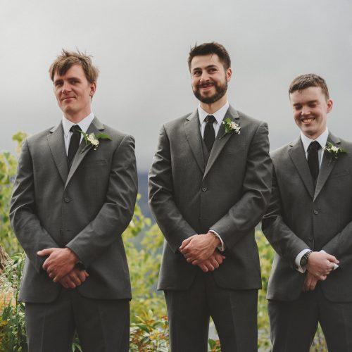 Wedding ceremony groomsmen. Sea Tree Weddings.